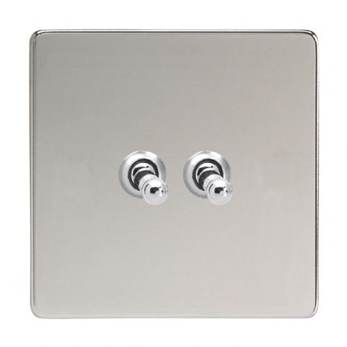 Varilight XDCT2S Screwless Polished Chrome 2 Gang 10A 1 or 2 Way Toggle Light Switch